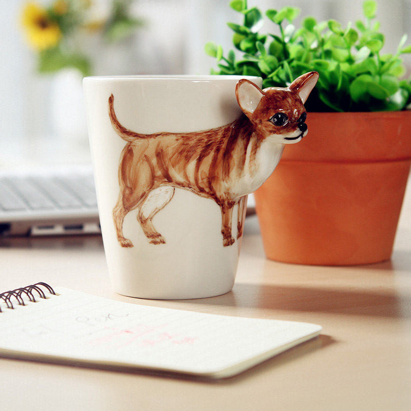 Funny Christmas Gifts For Her Part - 46: Handmade Cute Coffee Milk Mug Animal Chihuahua 3d Funny Birthday Gift Gift  For Her Holiday Gift Christmas Gift