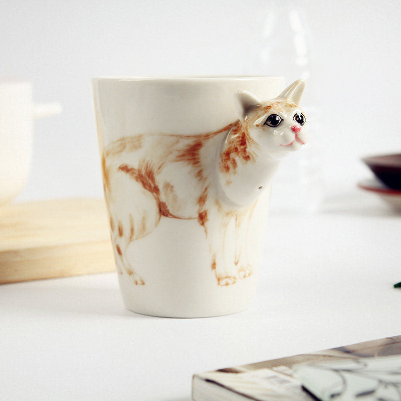 Handmade cute coffee milk mug animal Burmese cat 3d Funny Birthday Gift Gift for Her Holiday Gift Christmas Gift