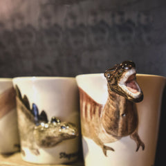 Handmade cute coffee milk mug animal Dinosaur Triceratops 3d Funny Birthday Gift Gift for kids Holiday Gift Christmas Gift