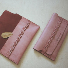 Handmade leather vintage braided women long wallet clutch phone purse wallet