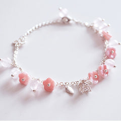 Handmade Silver Natural Cute Pink Crystal Bracelet Glass Flowers Jewelry Acciessories