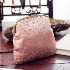 Handmade women clutch doupion silk brocade Chinese embroidery purse clutch long women wallet