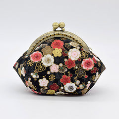 Handmade Coin Purse pouches japanese style sakura wallet change pouch purse wallet w metal frame Clasp purse