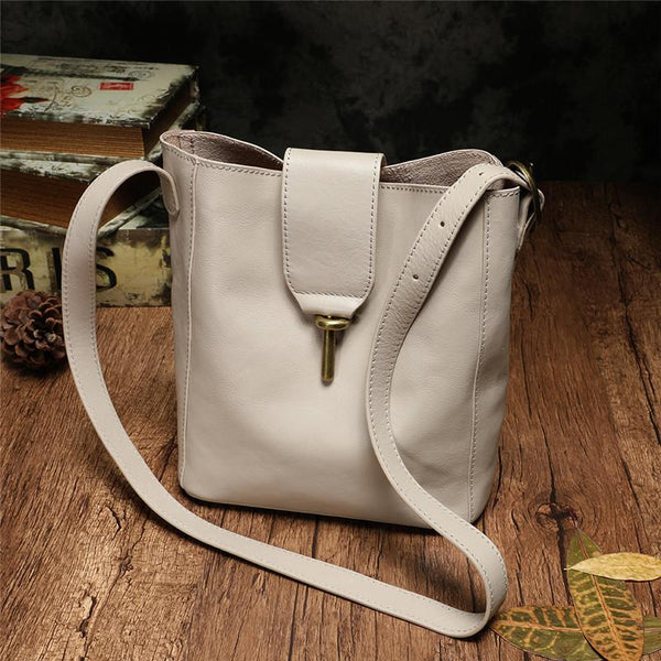 White Bucket Bag Soft Leather Bucket Shoulder Bag