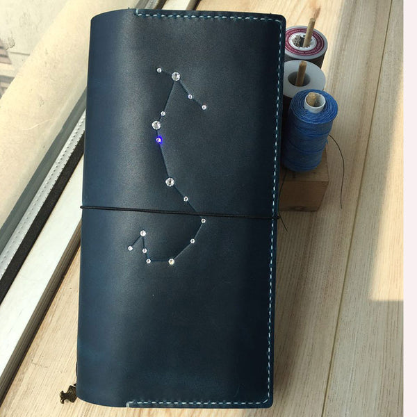 Handmade Leather CONSTELLATION Bifold Cool Women Long Wallet PERSONALIZED MONOGRAMMED GIFT CUSTOM Travel Wallet Passport Wallet