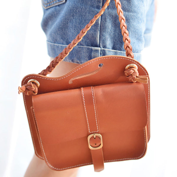 Handmade Leather Cute Brown Small Shoulder Bag Personalized Monogrammed Gift Custom Women Crossbody Bag Purse Shoulder Bag Purse