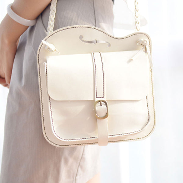 Handmade Leather Cute White Small Shoulder Bag Personalized Monogrammed Gift Custom Women Crossbody Bag Purse Shoulder Bag Purse
