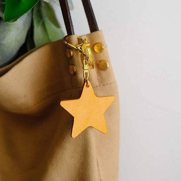 Handmade Leather Cute Star Bag Charm Keyring Personalized Monogrammed Gift Custom Women Key Charm Bag Charm