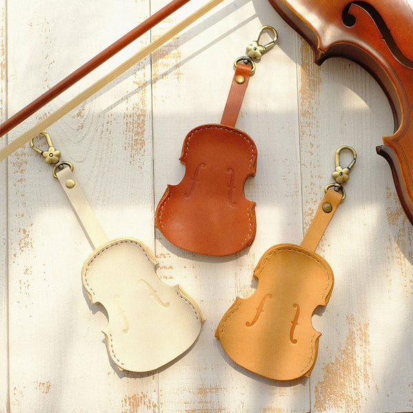 Handmade Leather Cute Violin Keyring Keychain Women Personalized Monogrammed Gift Custom Wallet Women Keyring Keychain
