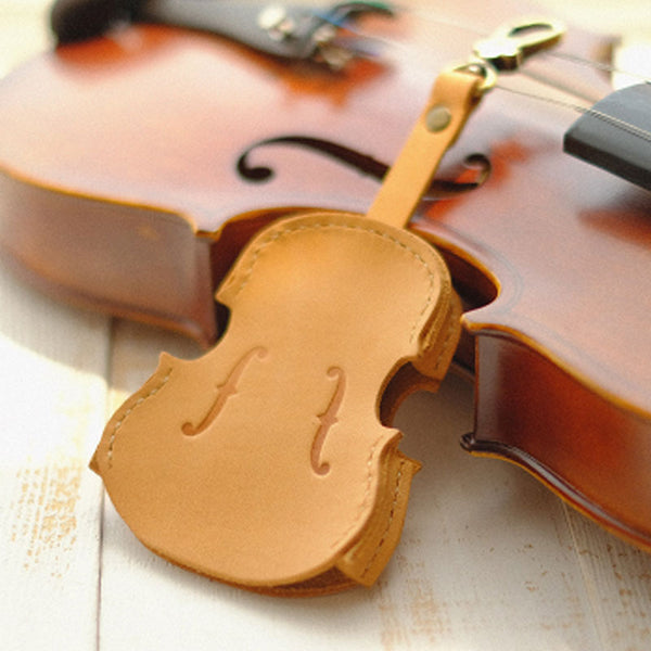 Handmade Leather Cute Violin Camel Keyring Keychain Women Personalized Monogrammed Gift Custom Wallet Women Keyring Keychain