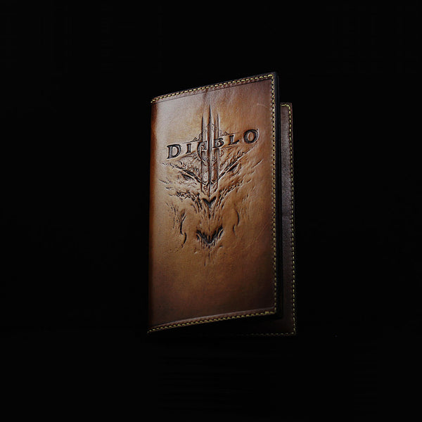 Handmade Leather Long Men Tooled Diablo3 Long Wallet Personalized Monogrammed Gift Custom Cool Clutch Wallet Purse