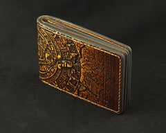 Handmade Leather Mens Short Tooled The Mayan Calendar License Wallet Card Wallet Personalized Monogrammed Gift Custom Cool Leather Card Wallet for Men