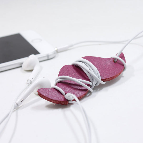 Handmade Leather Mustache Cord Organizer Earbud Case Personalized Monogrammed Gift Custom Wallet Women Cord Taco