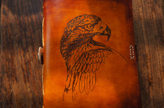 Handmade Leather Notebook Eagle Journal Tooled Travel Book Personalized Monogrammed Gift Custom Women Cute Journal