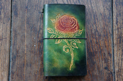 Handmade Leather Notebook Journal Tooled Rose Travel Book Personalized Monogrammed Gift Custom Women Cute Journal