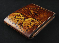 Handmade Leather Short Tooled Metallica Wallet Personalized Monogrammed Gift Custom Cool Leather Wallet Slim Wallet for Men