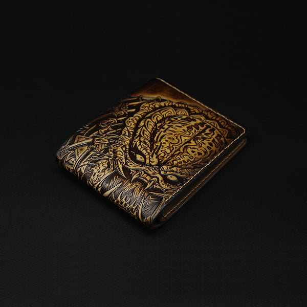 Handmade Leather Short Tooled The Predator Wallet Personalized Monogrammed Gift Custom Cool Leather Wallet Slim Wallet for Men