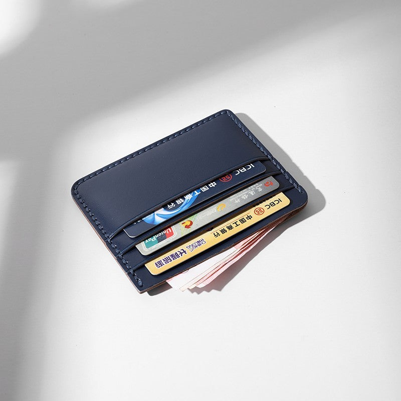 Handmade Leather Women Navy Blue Slim Front Pocket Wallet ... b19f477cf