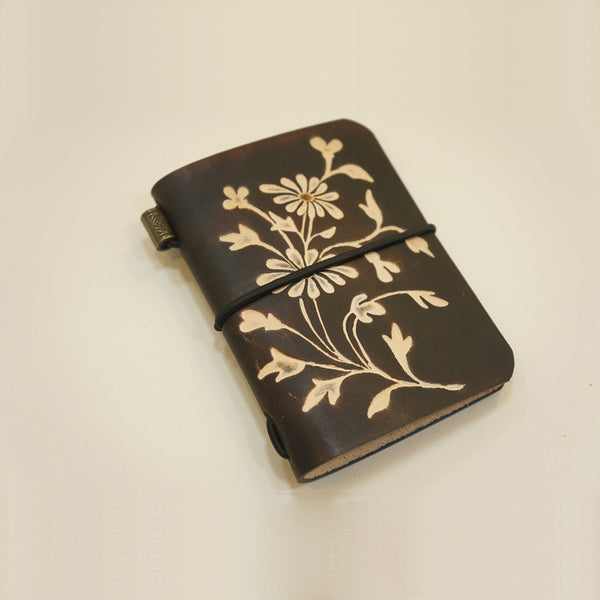 Handmade Women Cute Leather Card Wallet Flower Tooled Card Holder Personalized Monogrammed Gift Custom Women Card Wallet