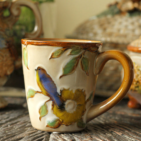 Handmade cute bird rustic cameo tea cup tall pottery funny coffee milk mug painted big large coffee cup ceramic vintage