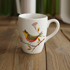 Handmade cute bird rustic oversized tea cup tall pottery funny coffee milk mug painted big large coffee cup ceramic vintage