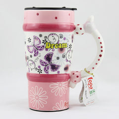 Handmade cute coffee milk mug animal painted pink Birthday Gift Gift for Her Holiday Gift Christmas Gift