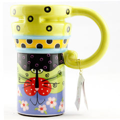 Handmade cute cool yellow oversized tall pottery funny coffee milk mug animal painted pink big large coffee cup ceramic unique gift online