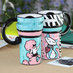 Handmade cute cool dog oversized tall pottery funny coffee milk mug animal painted pink big large coffee cup ceramic unique gift online