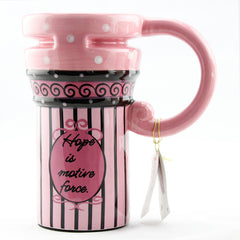 Handmade cute cool oversized tall pottery funny coffee milk mug animal painted pink big large coffee cup ceramic unique gift online