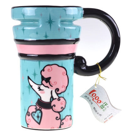 Handmade Cute Cool Poodle Dog Oversized Tall Pottery Funny Coffee Milk Evergiftz