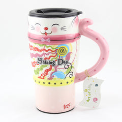 Handmade cute cool cat oversized tall pottery funny coffee milk mug animal painted pink big large coffee cup ceramic unique gift online