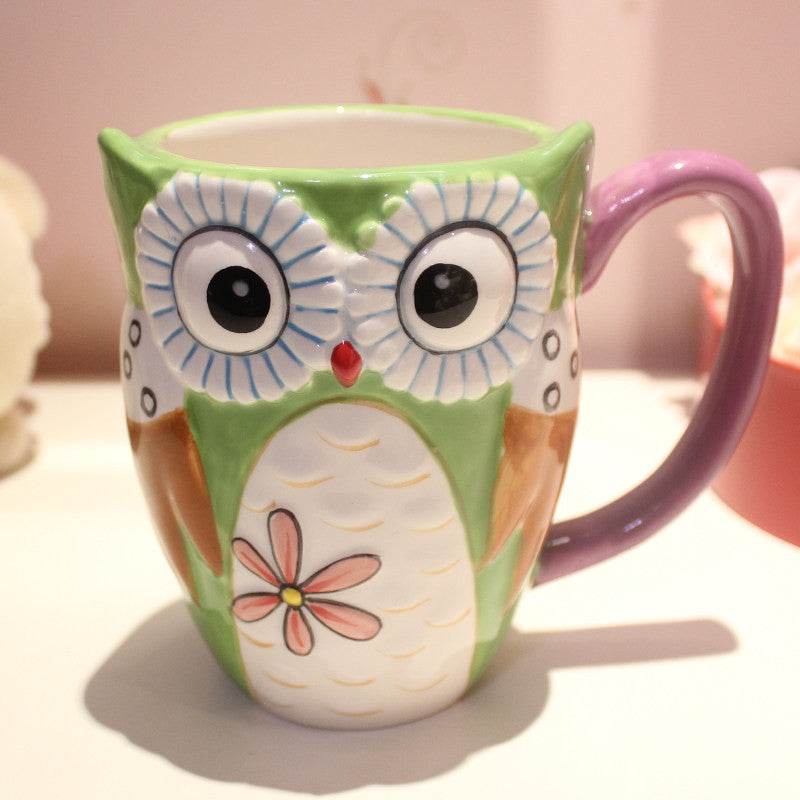Attractive Unique Coffee Mugs Online Part - 13: Handmade Cute Cool Oversized Tea Cup Tall Pottery Funny Coffee Milk Mug  Animal Painted Pink Big Large Coffee Cup Ceramic Unique Gift Online