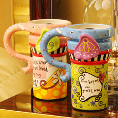Handmade cute cool elephant oversized tea cup tall pottery funny coffee milk mug animal painted pink big large coffee cup ceramic unique gift online