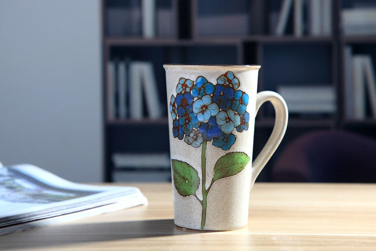 Handmade cute cool hydrangea oversized tea cup tall pottery funny coffee milk mug painted big large coffee cup ceramic vintage