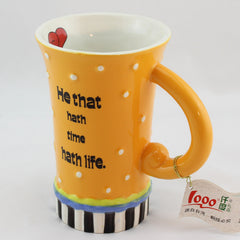 Handmade cute cool oversized quotes tall pottery funny coffee milk mug animal painted pink big large coffee cup ceramic unique gift online