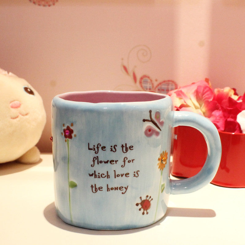Handmade Cute Cool Oversized Quotes Tall Pottery Funny Coffee Milk