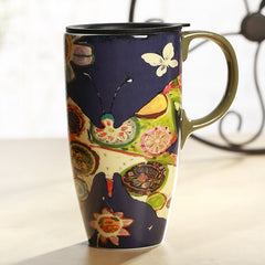 Handmade cute cool oversized tea cup tall pottery funny coffee milk mug applique big large coffee cup ceramic unique gift online