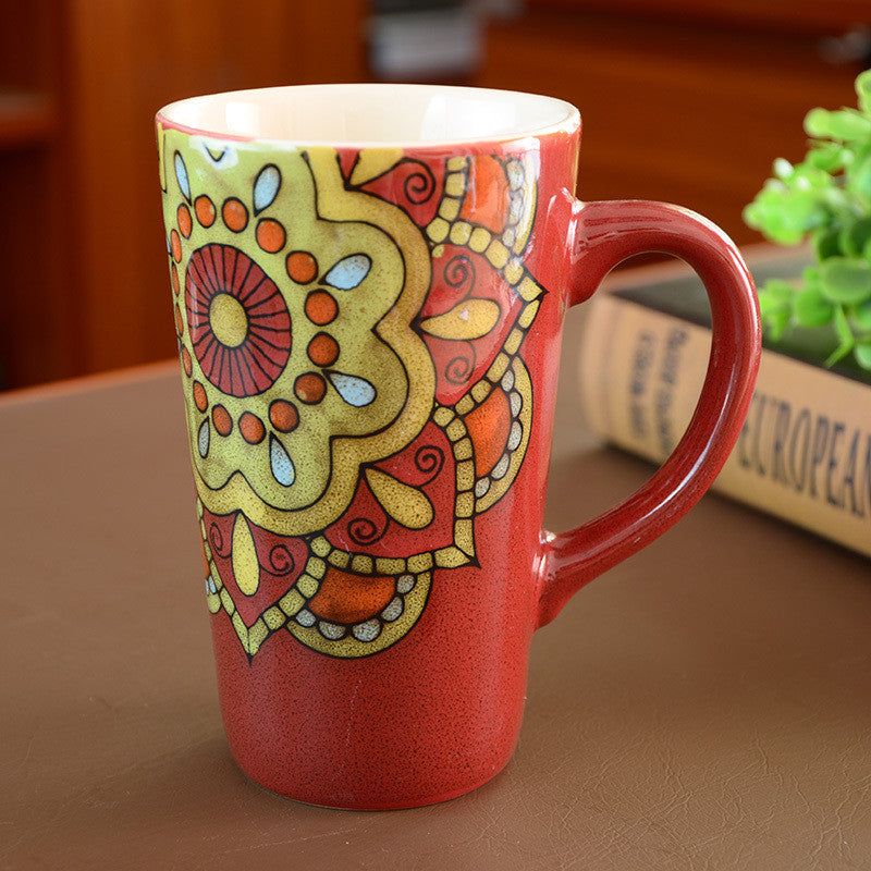 Handmade cute cool oversized tea cup tall pottery funny coffee milk mug painted big large coffee cup ceramic vintage