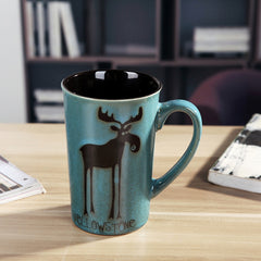 Handmade cute cool reindeer oversized tea cup tall pottery funny coffee milk mug painted big large coffee cup ceramic vintage