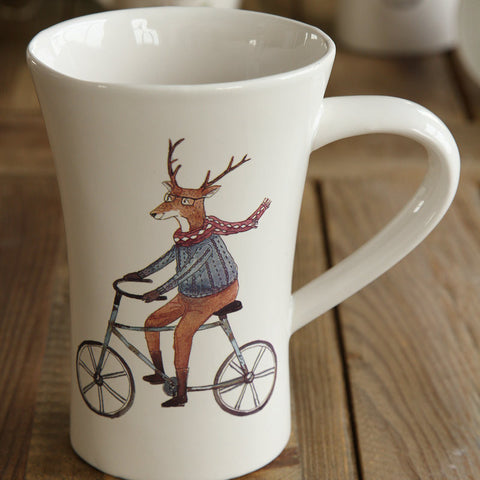 Handmade cute deer couples oversized tea cup tall pottery funny coffee milk mug painted big large coffee cup ceramic vintage