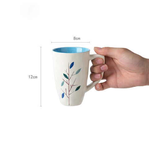 Handmade cute colorful tree oversized tea cup tall pottery funny coffee milk mug painted big large coffee cup ceramic vintage