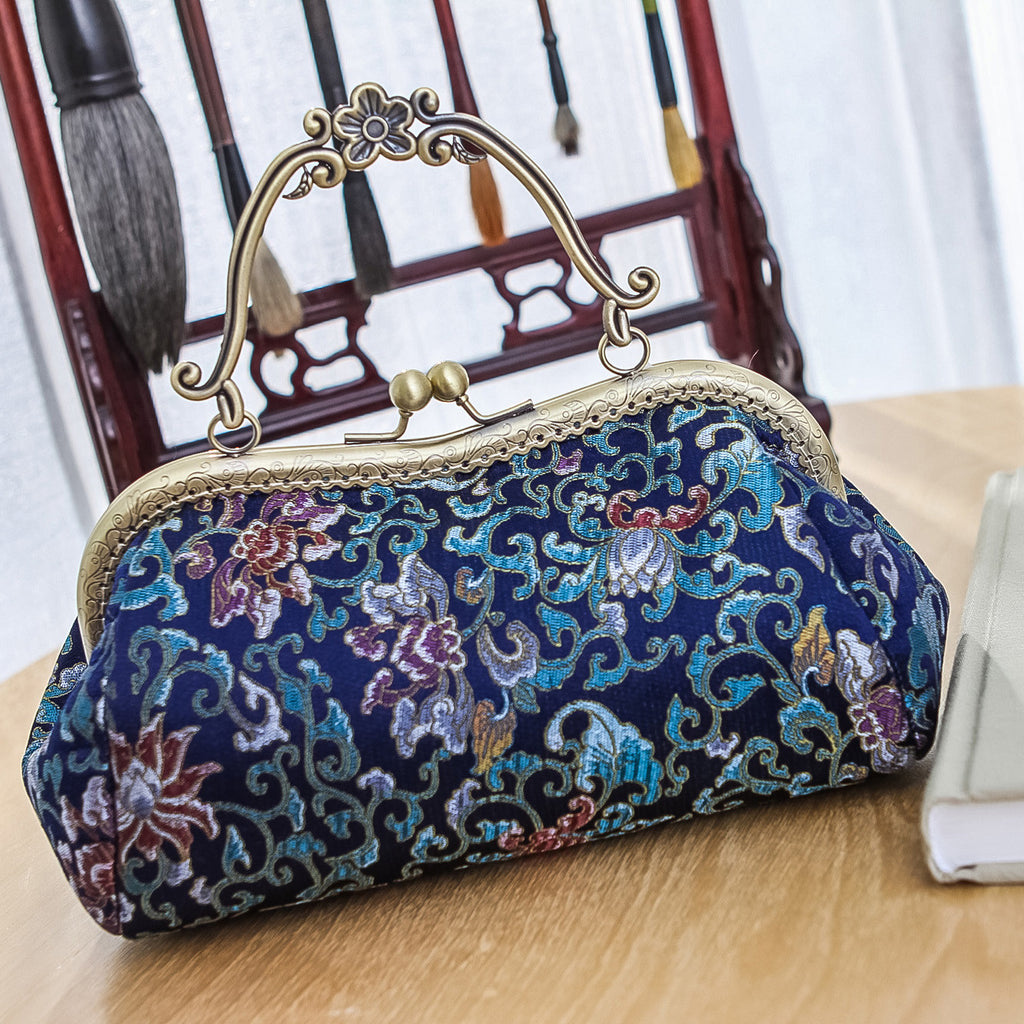 Handmade handbag Chinese style wallet change handbag purse wallet w metal frame Clasp purse