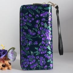 Handmade leather long women painted floral tooled wallet zip clutch wallet purse wallet