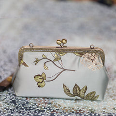 Handmade women clutch doupion silk Chinese embroidery shoulder bag clutch long women wallet