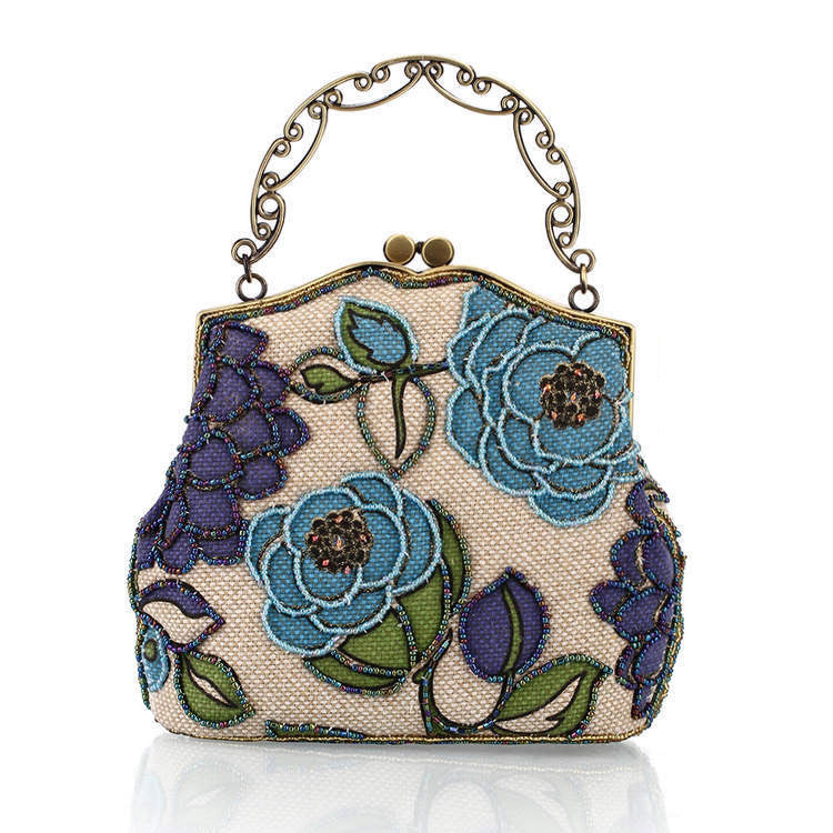 Handmade women handbag doupion silk flax Chinese vintage shoulder bag handbag crossbody bag  women