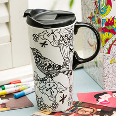 Just add color DIY oversized tea cup pottery funny coffee milk mug applique coffee cup ceramic unique gift online