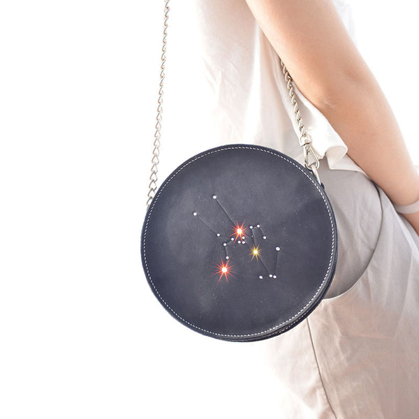 LEATHER PERSONALIZED Constellation Circle SHOULDER BAG HANDMADE CROSSBODY BAG Chain Round PURSE