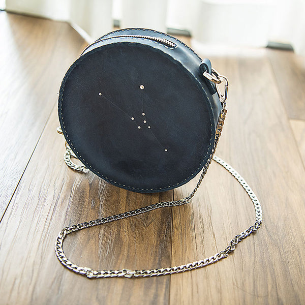 LEATHER PERSONALIZED Constellation Circle SHOULDER BAG HANDMADE