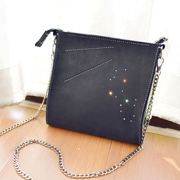 LEATHER PERSONALIZED Constellation SHOULDER BAG PURSE HANDMADE MONOGRAMMED GIFT CUSTOM CROSSBODY BAG PURSE Chain SHOULDER BAG PURSE