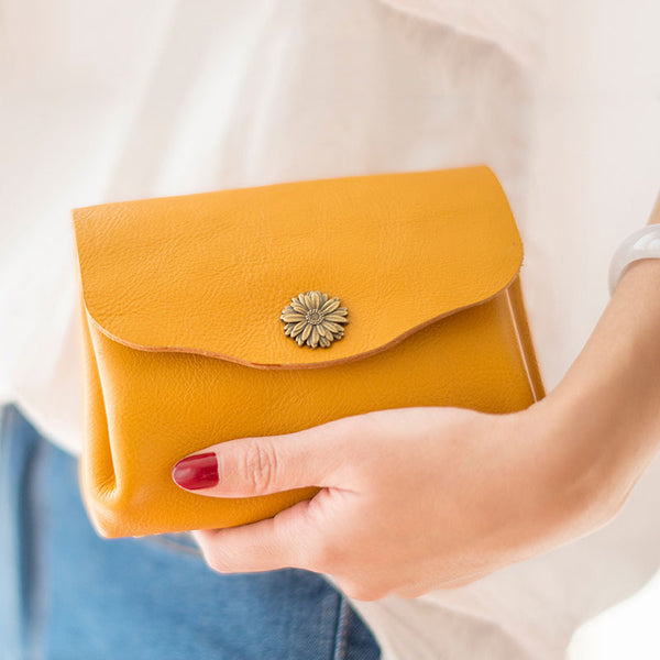 Leather Accordion Yellow Women Wallet HANDMADE PERSONALIZED Wallet